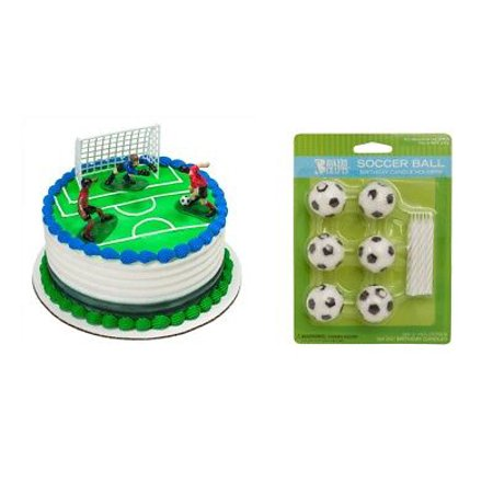 Soccer Players Cake Topper PLUS 6 Soccer Ball Candles and Holders](Soccer Cake Toppers)