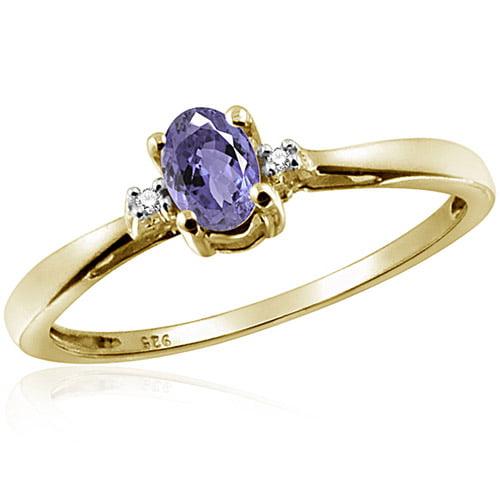 JewelersClub 0.24 Carat Tanzanite Gemstone and Accent White Diamond Ring