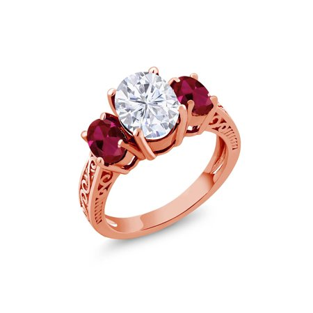 18K Rose Gold Plated Silver 3-Stone Ring Forever Brilliant (GHI) Oval 2.10ct (DEW) Created Moissanite by Charles & Colvard and Created Ruby