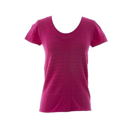 - August Silk Women's Rib Stretch Knit Short Sleeve Top
