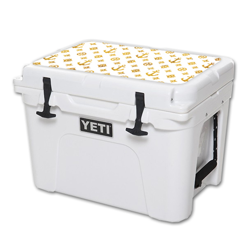 MightySkins Protective Vinyl Skin Decal for YETI Tundra 35 qt Cooler Lid wrap cover sticker skins Gold Anchors