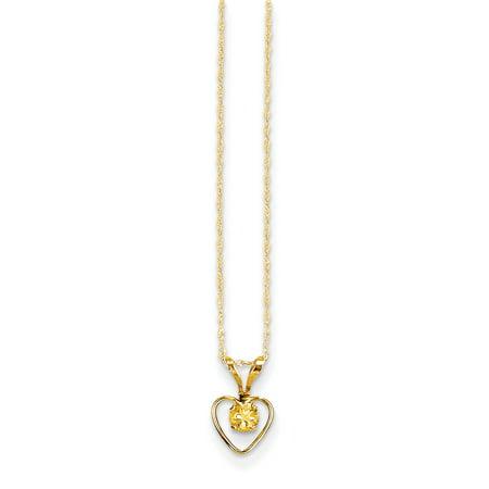 14k Madi K 3mm Citrine Heart Birthstone Necklace ()