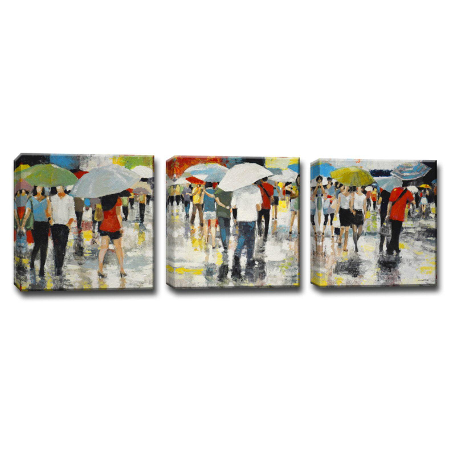 Ready2HangArt Umbrellas Wrapped Canvas Wall Art - 3 pc. Set
