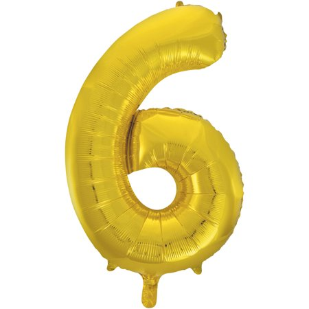 Smiley Face Foil Balloon - Foil Big Number Balloon, 6, 34 in, Gold, 1ct
