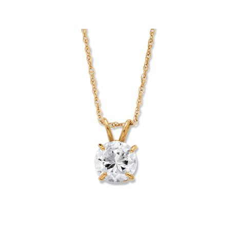 """1.25 TCW Round Cubic Zirconia Solitaire Pendant Necklace in 10k Yellow Gold 18"""""""