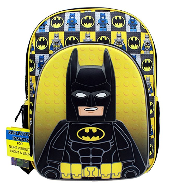 "Backpack Lego Movie Batman Figure Black Yellow 16"" School Bag LBCF01 by Accessory Innovations"