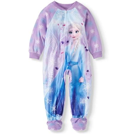 Frozen 2 Toddler Girl Microfleece Footed Blanket Sleeper Pajamas (Frozen Pjs 5t)