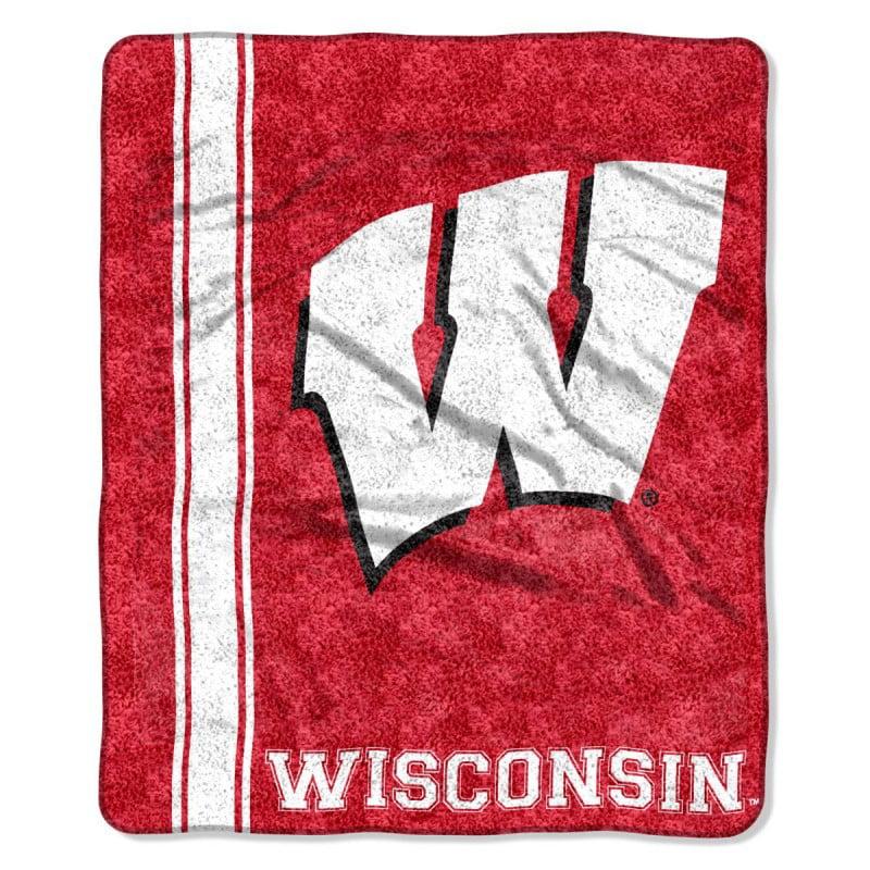 Wisconsin Badgers NCAA Jersey Design Sherpa 50x60 Fleece Plush Throw