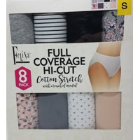 Felina Full Coverage Hi-Cut 8 Pack Women's Panties Assorted, Size: S