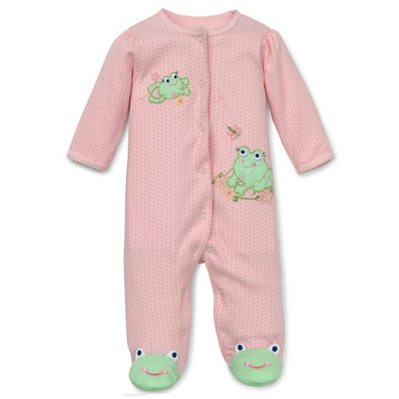 Little Me Frog Friends Snap Front Footie Pajamas For Baby Girls ...