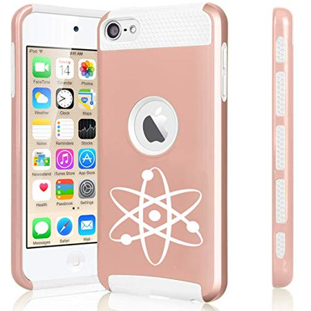 Shockproof Impact Hard Soft Case Cover for Apple (iPod Touch 5th / 6th) Atom Science Atheist (Rose Gold-White)