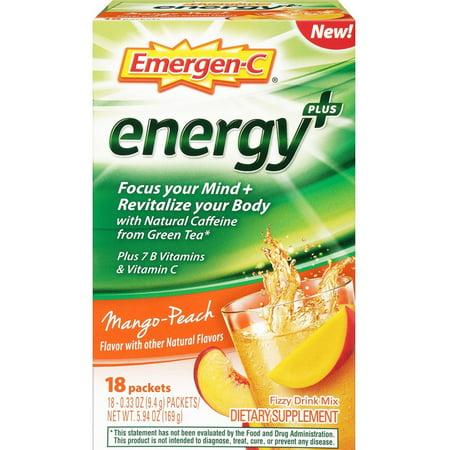 Fizzy Drink - 3 Pack - Emergen-C Energy+ Fizzy Drink Mix, Mango Peach Flavored 18 ea