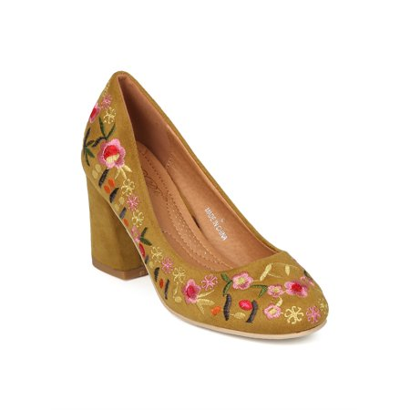 Floral Print Pumps (New Women Floral Embroidered Block Heel Pump - 17931 By Refresh)