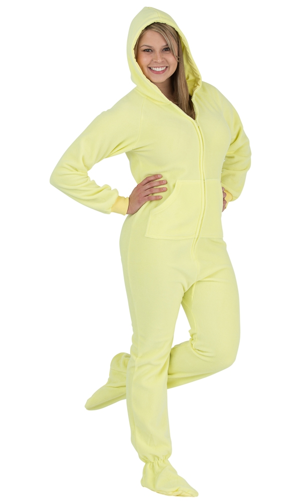 Footed Pajamas - Mellow Yellow Adult Hoodie Onesie 9eaae1f8b