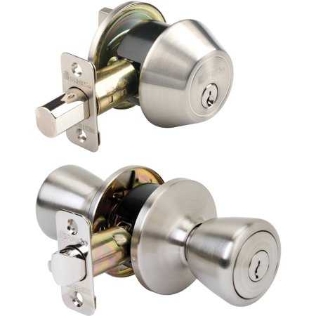 Brink's Tulip Style Keyed Entry Door Knob and Single Deadbolt, Satin