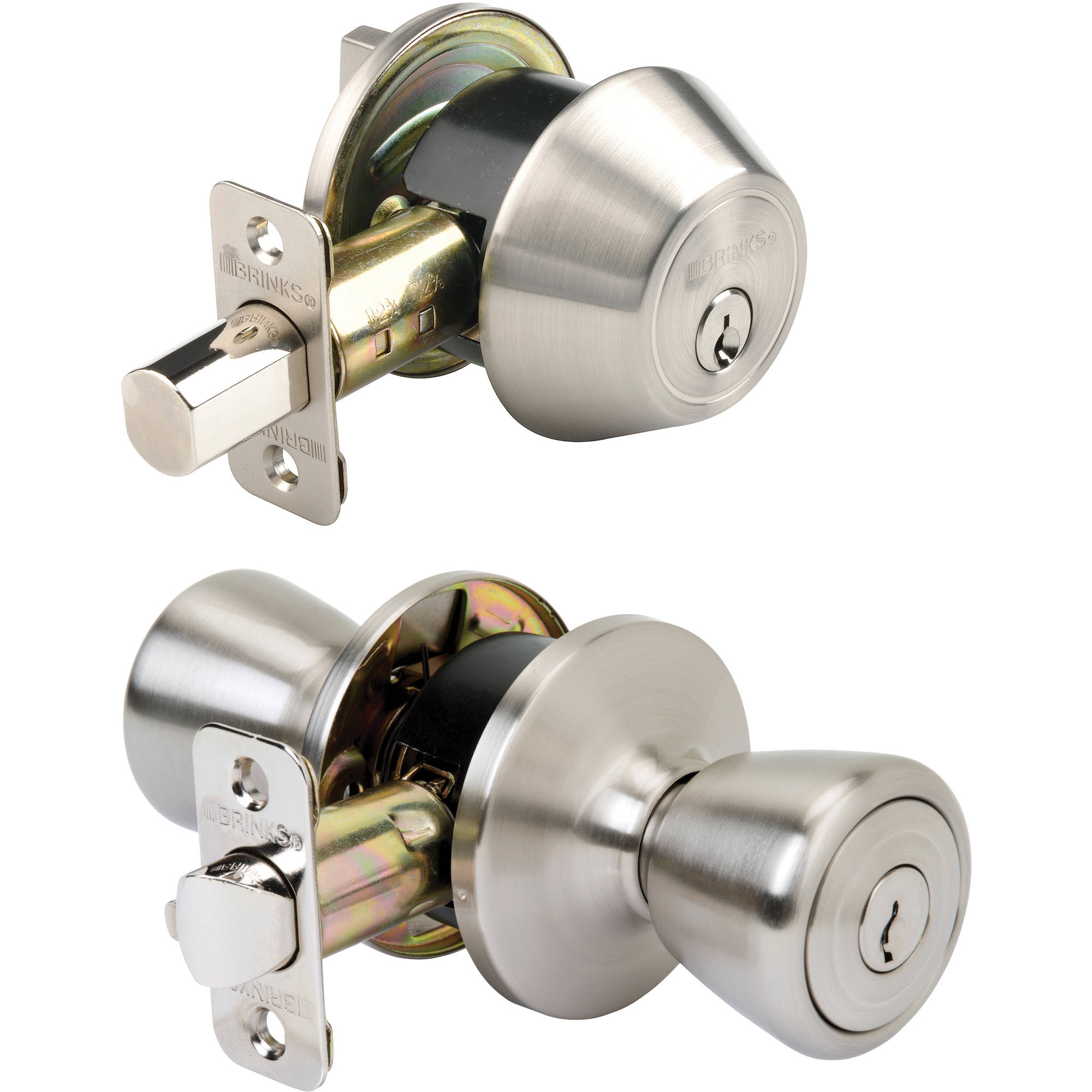 Brinku0027s Tulip Style Keyed Entry Door Knob And Single Deadbolt, Satin Nickel