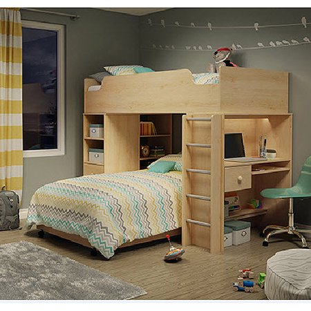 South Shore Twin Loft Bed Natural Maple