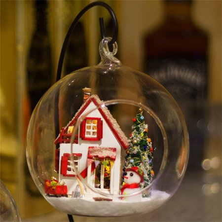Creative Christmas Gifts.Wooden Diy Miniature House Furniture Led House Decorate Creative Christmas Gifts