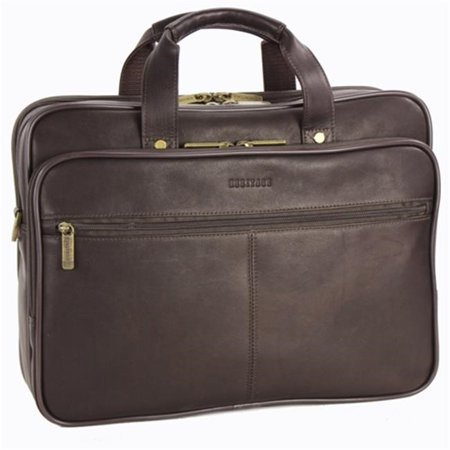 Travelware Full Grain Colombian Leather Double Compartment 15.4-inch Laptop Business Briefcase