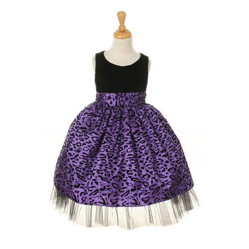 Girls Purple Velvet Animal Print Taffeta Special Occasion Dress 16