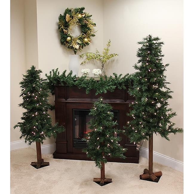 NorthLight 3 ft., 5 And 6 in. Pre-Lit Woodland Alpine Art...