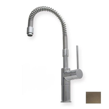 7.62 in. Metrohaus commercial single hole faucet with flexible spout and lever handle- Brushed Nickel-PVD ()