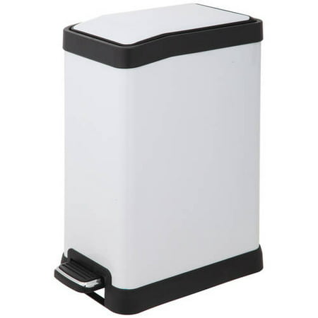 HomeZone VA41313A 8-Liter Stainless Steel Rectangular Step Trash Can, White Finish