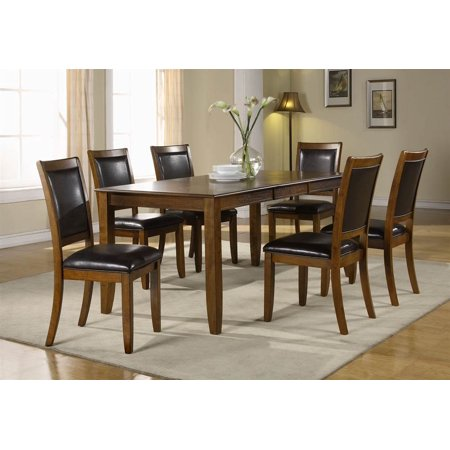 pc dining table set in dark walnut finish