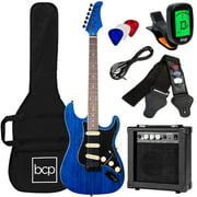 Best Choice Products 39in Full Size Beginner Electric Guitar Kit with Case, Strap, Amp, Whammy Bar Midnight Blue