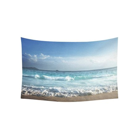 PHFZK Ocean Wall Art Home Decor, Beautiful Sunset on Seychelles Beach Tapestry Wall Hanging 40 X 60 Inches