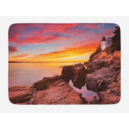 National Parks Bath Mat, Lighthouse on the Harbor Sea Shoreline with Horizon Sky New England Design, Non-Slip Plush Mat Bathroom Kitchen Laundry Room Decor, 29.5 X 17.5 Inches, Multicolor, Ambesonne