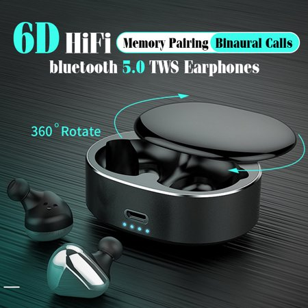 [ 360° Rotating Box, Best Gifts for Lady ] Full Frequency Balanced Armature Driver 5.0 earphones Noise Cancelling Earbuds Headphones With 2200mAh Charging
