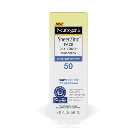 Face Sunblock - Neutrogena Sheer Zinc Dry-Touch Face Sunscreen with SPF 50, 2 fl. oz