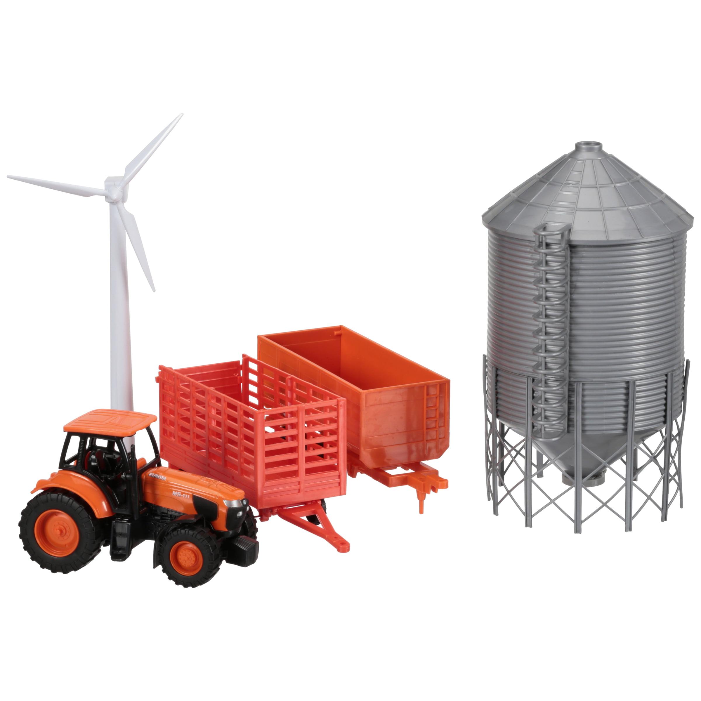 Kubota M5-111 Tractor with Wagons & Grain Bin Toy Set 6 pc Box by Kubota Tractor Corporation