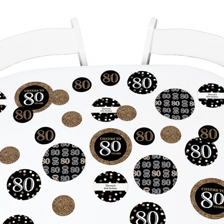 - Adult 80th Birthday - Gold - Birthday Party Table Confetti Set - 27 Count