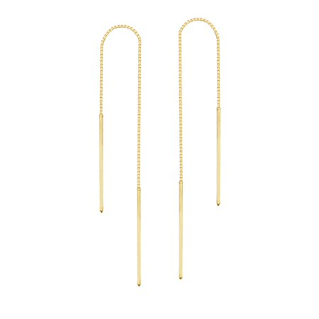 Yellow Gold Dangling Threader Earrings - Threader Earrings 14K Yellow Gold Polished Double Bar with Box Chain
