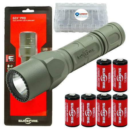 G2z Flashlight (Surefire G2X Pro 600 Lumen Dual-Outputs LED Flashlight with 4 Extra CR123A Batteries and Alliance Gadget Battery Case (Foilage Green))