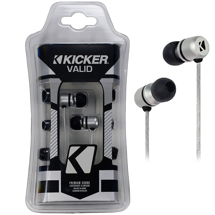 Kicker EB102S - In-Ear Valid Series Premium Headphone Monitors with 3-Comply Foam Tips (Silver)