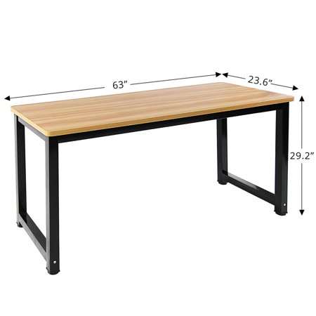 Dl Furniture Professional Office Desk Wood Steel Table Modern Plain Lap With Rectangular Legs Computer Personal Working E Natural