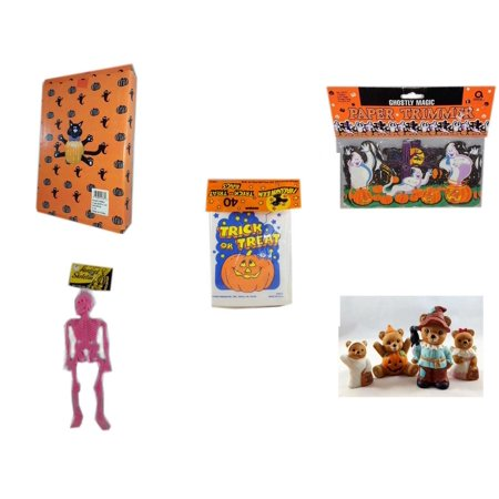 Halloween Fun Gift Bundle [5 Piece] -  Cat Pumpkin Push In 5 Piece Head Arms Legs - Ghostly Magic Paper Trimmer 3.75 in x 9 ft. -  Trick or Treat Bags 40/ct - Hanging Skeleton Pink - Homco  Set No. - Spiderman Pumpkin Push In