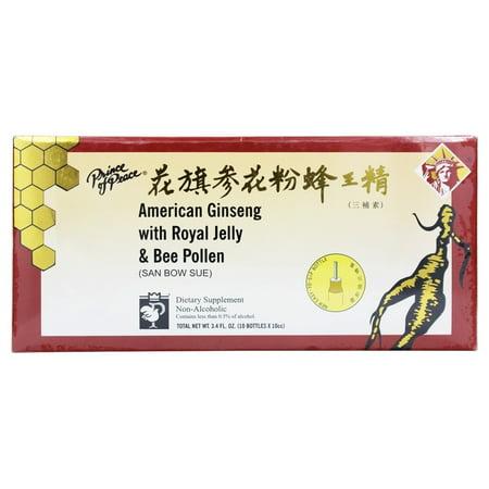 Prince Of Peace - Ginseng Extrait à la gelée royale et le pollen d'abeille 10 x 10 bouteilles cc