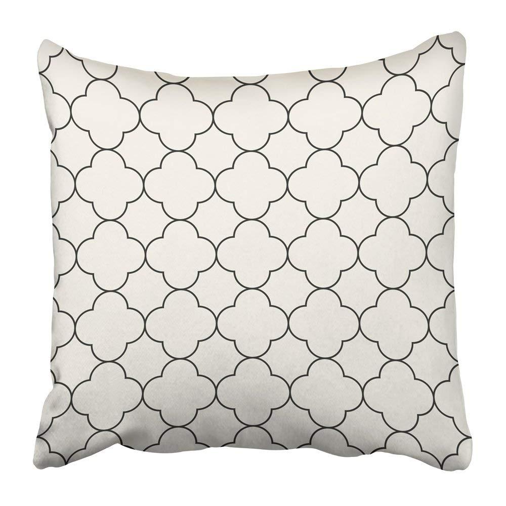 WOPOP Black Quatrefoil in Oriental Style Monochrome White Abstract Arab Arabesque Arabian Arabic Asia Pillowcase Pillow Cover 20x20 inches