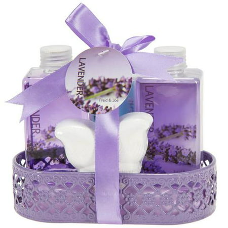 Bath, Body, and Spa Gift Set Basket for Women, in Lavender Fragrance, includes a Shower Gel, Bubble Bath, Body Lotion, and a Bath Bomb Fizzer, with Shea Butter and Vitamin E to Nourish