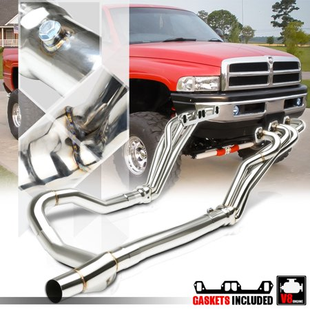 SS Long Tube Exhaust Header Manifold+Y-Pipe for 96-02 Dodge Ram 5 2/5 3/5 9  V8 97 98 99 00