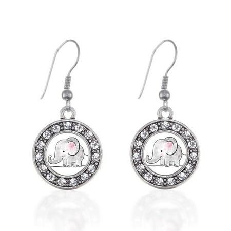 Baby Elephant Circle Charm Earrings