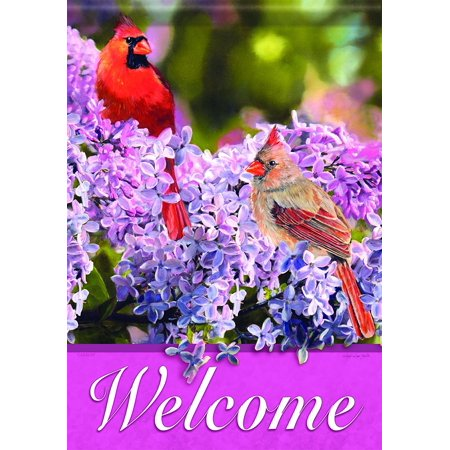"Home Accents FlagTrends Classic Garden Flag, Lilac and Cardinals, Flag measures 13"" x 18"" By Carson"
