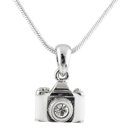 Metallic Silvertone with Glossy White & Clear Camera with Center Stone Lens Pendant with a 16 Inch Snake Franco Chain Necklace