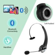 LUXMO Bluetooth Headset with Mic, Wireless Over The Head Earpiece, Noise Cancelling Headphones for Truckers Driver, Compatible with iPhone Android Samsung Galaxy Cellphone