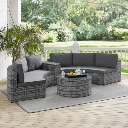 Image of Crosley Catalina 4Pc Outdoor Wicker Sectional Set- 2 Round Sectional Sofas, Arm Table, Round Glass Top Coffee Table