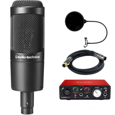 Audio-Technica Cardioid Condenser Microphone (AT2035) with Focusrite Scarlett Solo USB Audio Interface, Monoprice Premier Series XLR 10 Male to Female Cable & Microphone Wind Screen